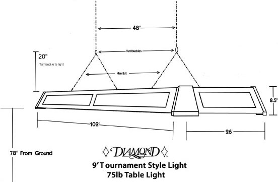 Diamond pro am ball return table for Pool table light plans